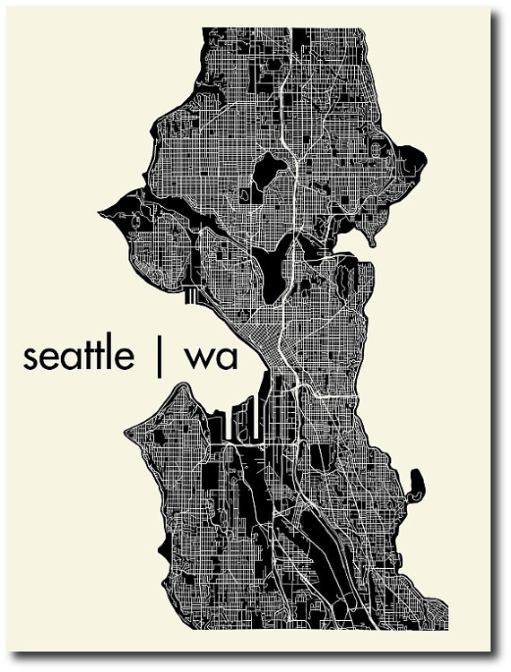 mr. city printing seattle map print map art city art city poster subway art illustrated map
