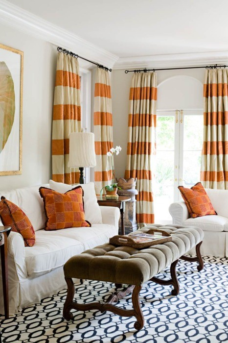 Pics photos brown and orange with gray stripes livingroom